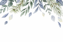 A Watercolor Vector Winter Banner With Dusty Blue Leaves And Branches.