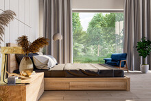 Bedroom Interior And Living Area On Nature Mockup In Farmhouse Style.