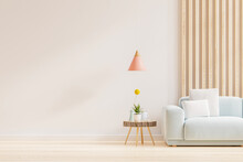 Empty Living Room With Sofa And Table On Empty White Wall Background.