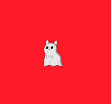 Cute Ghost Hamster In Halloween Theme. Spooky Little Mousy  For Halloween Party. Vector Illustration.