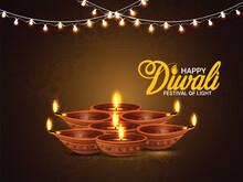 Diwali Festival Of Light Celebration Greeting Card With Vector Diwali Diya