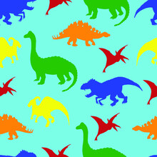 Seamless Pattern Of Multicolored Dinosaurs On A Blue Background