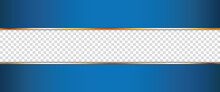 Long Blue Ribbon Banner With Gold Frame With Transparent Place