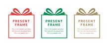 プレゼント、贈り物、ギフトボックスのフレームイラストセット お祝い 誕生日 クリスマス