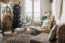 Room With Boho Interior Design And Comfortable Furniture
