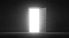 3d Render, Wide Open Door With White Bright Light, Isolated On A Black Background. Architectural Interior Element. Modern Minimal Concept. Opportunity Metaphor