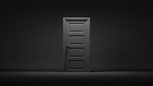 3d Render, Closed Door In A Dark Room, Black Background. Architectural Interior Element. Modern Minimal Concept