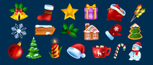 Christmas Game UI Icon Set, Vector X-mas Winter Holiday Symbol Kit, New Year Cartoon Design Elements. Season Celebration Badge, Santa Claus Hat, Snowman, Gingerbread Cookie. Christmas Icon Collection