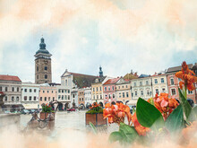 Watercolor Pattern Of Czech Budejovice Black Tower On Square Colorful Illustration