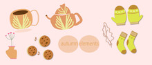 Autumn Elements Set. Socks, Mittens, Tea, Kettle, Cookies