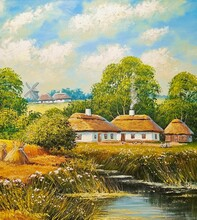 Oil Rural Paintings Landscape, House In The Countryside, Windmill In The Country