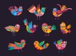 Mexican birds with colorful ornaments, feathers and tails. Vector alebrije birds, decorated with ethnic pattern of Mexico and floral motif with flowers and leaves. Mexican holiday elements