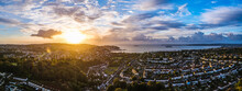 Panorama Of Sunrise Over Torquay From A Drone, Torbay, Devon, England, Europe