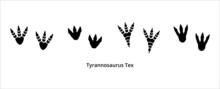 Various Tyrannosaurus Rex Foot Print. Assorted T-rex Foot Print Symbol. Dinosaur T-rex Footprint Stamp Template. Vector Stock Illustration