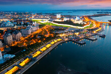 Aerial View Of Kazan Kremlin And Kazanka River At Dusk.