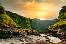 Beautiful Waterfall With Dramatic Sky, Somewhere In The Sahyadri Ranges Of Western Ghats Of Maharashtra.