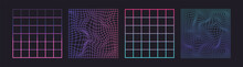 Distorted Neon Grid Pattern. Vector. Abstract Glitch Background. Set Collection. Retro Wave, Synthwave, Rave, Vaporwave. Blue, Black, Pink Purple Color. Trendy 1980s, 90s Style. Print, Poster, Banner.