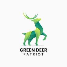 Vector Logo Illustration Green Deer Gradient Colorful Style.