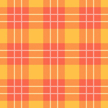 Orange And Yellow Tartan Plaid Seamless Pattern Background Design For Decorating, Wallpaper, Wrapping Paper, Fabric, Backdrop And Etc.