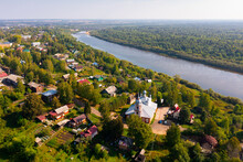 Church Of St. Nicholas The Wonderworker Of City Manturovo From Helicopter. Kostroma Region. Russia