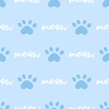 Blue And White Cat Seamless Pattern. Meow And Cat Paws Background Vector Illustration. Cute Cartoon Pastel Character For Nursery Boy Baby Print.