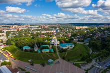 Dmitrov, Russia. Dmitrov Kremlin Is A Partially Preserved Ancient Russian Fortress Of The 12th Century. Assumption Cathedral. Aerial View