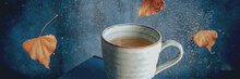 Autumn Mood Panorama With A Cup Of Tea And Autumn Leaves On A Rainy Day