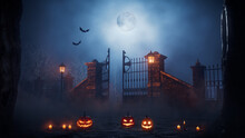 Jack O' Lanterns At Eerie Churchyard Gate. Halloween Background.