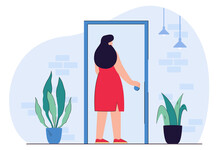 Young Female Character Holding Door Knob Entering Building. Woman Touching Handle Opening Apartment House Door. Flat Editable Vector Illustration, Clip Art. Challenge, Opportunity Concept.