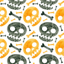 Halloween Seamless Pattern With Orange And Black Skulls And Bones. Spooky Digital Scrapbooking Paper On White  Background.