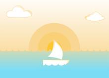 Yacht At Tropical Ocean Sunset. Natural Landscape Vector Illustration.