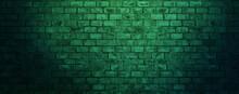 Green Brick Wall Abstract Background For Wallpaper, Header, Banner, Website, Print