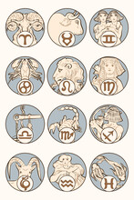 Art Nouveau 12zodiac Signs Vector, Remixed From The Artworks Of Alphonse Maria Mucha
