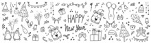 Happy New Year Cute Doodle Vector Set. Tiger Year Hand Drawn Design With , Love, Floral, Birds, Christmas Tree , Firework, Balloon, Penguin, Rainbow, Winter Hats, Sock, Gloves, Gifts And Star. EPS10.