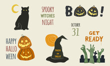 Halloween Elements Set With Spooky Icons Of Black Cat, Pumpkins Jack O' Lantern, Boo! Lettering, Witch Hat With Trick Or Treat Text, Moon, Zombie Hands In Cementery, Get Ready...Vector, Flat And Lined