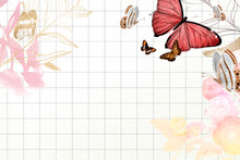 Butterfly Background Aesthetic Border With Flowers Vector, Remixed From Vintage Public Domain Images
