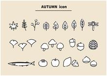 秋 アイコン 線画 シンプル かわいい あしらい