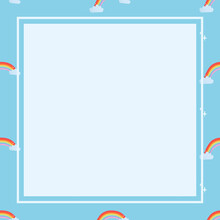 Blue Square Frame, Cute Rainbow Pattern Weather Vector Clipart