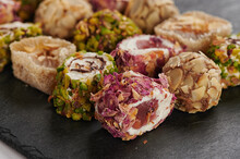 Turkish Delight Sweets On A Stone Slate Board