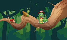 Cute Insect Animals On The Tree Branch Illustration