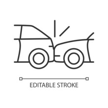 Rear-end Collision Linear Icon. Hitting Vehicle From Behind. Accident In Congested Traffic. Thin Line Customizable Illustration. Contour Symbol. Vector Isolated Outline Drawing. Editable Stroke