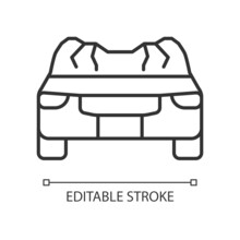 Car Roof Damage Linear Icon. Rollover Accident. Auto Collapse. Equipment Failure. Car Accident. Thin Line Customizable Illustration. Contour Symbol. Vector Isolated Outline Drawing. Editable Stroke