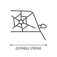 Broken Car Glass Linear Icon. Windscreen Damage. Shattering Windshield In Accident. Thin Line Customizable Illustration. Contour Symbol. Vector Isolated Outline Drawing. Editable Stroke