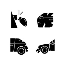 Auto Body Damage Black Glyph Icons Set On White Space. Broken View Mirror. Scratches In Vehicle Exterior. Rear-end Collision. Car Insurance. Silhouette Symbols. Vector Isolated Illustration