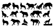 Vector Illustration. Black Silhouette Of A Wolf On A White Background.