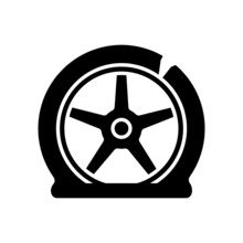 Tyre Damage Black Glyph Icon. Vehicle Accident. Car Tire Defects. Bad Road Conditions. Defective Equipment. Tire Blowout Risk. Silhouette Symbol On White Space. Vector Isolated Illustration