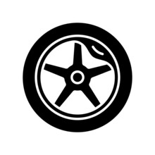 Wheel Damage Black Glyph Icon. Collision Damaged Vehicle. Driving On Cracked Rim. Uneven Wear In Tires. Hazardous Condition. Silhouette Symbol On White Space. Vector Isolated Illustration