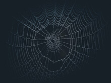 An Unfinished Web With Dew Drops In The Dark. Halloween Background.