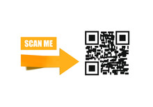Vector 3D Yellow Arrow And Qr Code, Scan Me Illustration, Banner Template.