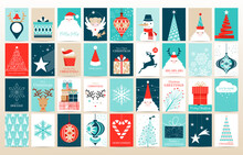 Hand Drawn Vector Abstract Fun Merry Christmas Time Cartoon Illustrations Greeting Cards Template And Backgrounds Big Collection Set With Gift Boxes,people And Xmas Tree Isolated On White Background